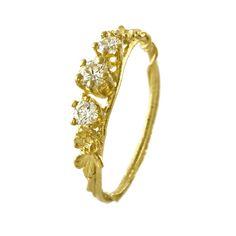 Rosa Centifolia Three Diamond Ring