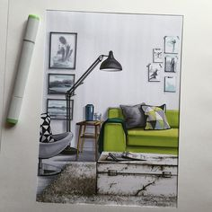 # sketch # sketch # markers # decor # design - All About Decoration Interior Design Renderings, Drawing Interior, Interior Rendering, Interior Sketch, Interior Shop, Interior Doors, Interior Styling, Croquis Architecture, Architecture Design