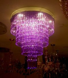 Purple Glass, Glass Chandelier, Shades Of Purple, Ceiling Lights, Lilacs, Contemporary, Crystals, Lighting, Lamps