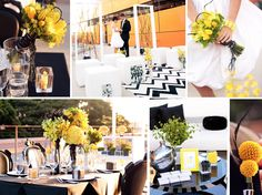 """Bumblebee"" yellow and black wedding inspiration board from Burnett's Boards"