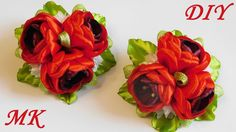 Цветы  из атласных лент. Резиночки для волос. Мастер класс
