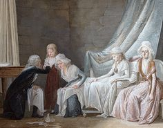 Madame Royale treated by the physician Brunier on January 1793 by Jean-Baptiste Mallet Grasse [source: Artcurial, via Auction.fr] This painting depicts the physician who was allowed. French History, Roman History, Tudor History, Time In France, French Royalty, 18th Century Clothing, Catherine The Great, French Revolution, Phantom Of The Opera
