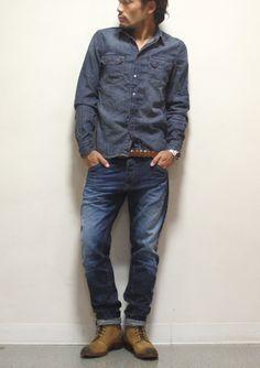 """【楽天市場】Nudie Jeans(ヌーディージーンズ) """"GUSTEN"""" デニムウェスタンシャツ ワークシャツ ヴィンテージ ビンテージ 長袖シャツ すっきり アメカジ カジュアル メンズ 紳士 38161-3011 ORG.GREYCAST(B26)【tops】【インディゴ】【ca1】【ca2】【nitem】【あす楽対応】:ベンシュナ"""