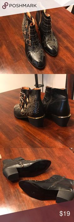 Pointy black booties with gold buckles These black booties with gold embellishments are edgy and stylish! They have been worn once, and in great condition. Shoes Ankle Boots & Booties