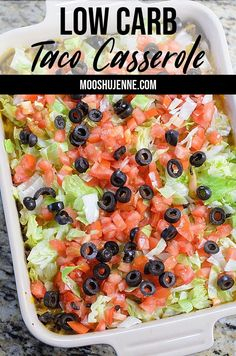 This is a easy weeknight dinner for low carb taco casserole that you dont have to bake. Just broil the cheese over the top and add toppings. Its as quick as frying the meat topping it with cheese then adding lettuce tomatoes and onions. Low Carb Dinner Recipes, Meat Recipes, Mexican Food Recipes, Healthy Recipes, Low Carb Quick Dinner, Carb Free Dinners, Low Carb Hamburger Recipes, Easy Diabetic Meals, Fast Low Carb