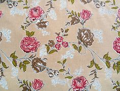 Rose  Sample print on paper, with printed outlines and hand painted colours. The original print has light red ground with roses in red, pink and brown. from Lang Collection, Gotlands Fornsal, Visby, inv. Nr. B288:32. Tobias Lang had a printing manufactory in Visby 1784-1836.