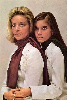 Lauren Bacall and her daughter Leslie Bogart ~ 1968