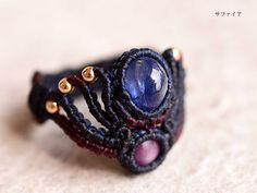 サファイア 天然石リング Macrame Rings, Macrame Necklace, Macrame Jewelry, Macrame Bracelets, Beaded Rings, Dreadlock Beads, Dread Beads, Dread Accessories, Paper Quilling Jewelry