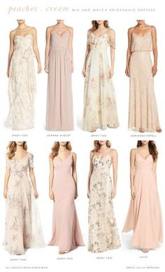 This mix of blush dresses, cream colored dresses, peach dresses, and soft blush and pink floral bridesmaid dresses illustrates how to expertly mix blush and neutral bridesmaid dresses.