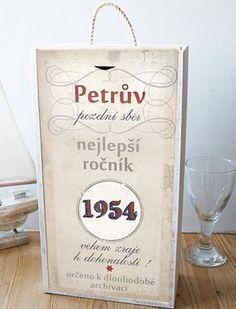 Originální dárek k narozeninám, krabice na víno se jménem a rokem narození Diy And Crafts, Scrapbook, Memories, Birthday, Party, Handmade, Gifts, Inspiration, Home Decor