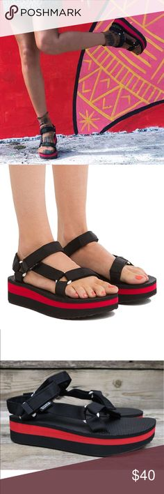 08319639865d Teva Original Flatform Universal Black Red Sandals Oh dear goodness these platform  sandals are so rock n roll. These are my photos of the actual sandals.