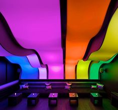 wunderbar lounge - Inside the W Hotel in Montreal lies a sleek, understated bar just waiting to be lit up with all the colors of the rainbow—literally.