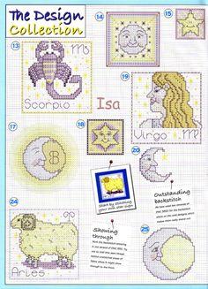 Zodiac Cross Stitch Patterns from The World of Cross Stitching vol 93 Horoscope Signs, Zodiac Signs, Sun Moon Stars, Yarn Projects, Cross Stitching, Cross Stitch Patterns, 30th, Lettering, Embroidery