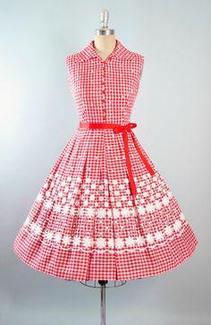Vintage 50s Dress / 1950s Sundress Red GINGHAM by GeronimoVintage