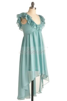 Baby Blue High-low/Asymmetrical Ruffled Scoop Chiffon Prom Dress BD0118