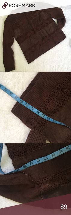 Vintage customized suede wool blend brown sweater No tags or brand fabric feels like wool and real suede high quality Vintage Sweaters Crew & Scoop Necks