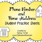 FREE!! This packet will give your child practice sheets for writing their phone number and home address. There is a phone sheet where students can practic...