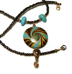 Handmade Polymer Clay Pendant Necklace Art by SweetchildJewelry, $22.00