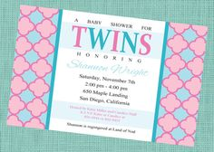 Twins Baby Shower Invitation - Boy and Girl - Gender unknown - Printable