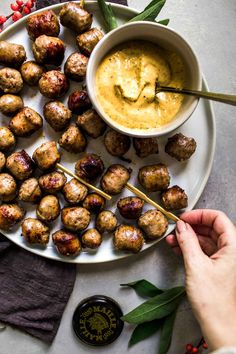 These Sausage Bites are simmered in white wine & served with a creamy, spicy mustard dipping sauce. They're a delicious party appetizer that cooks up quick. It's that time of year when delicious appetizer recipes Nibbles For Party, Snacks Für Party, Appetizers For Party, Wine Appetizers, Italian Appetizers, Sausage Appetizers, Appetizer Dips, Appetizer Recipes, Goat Cheese Bruschetta Recipe