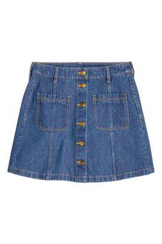 A-line skirt - Denim blue - Ladies A Line Skirts, Mini Skirts, Flare Skirt, Capsule Wardrobe, Blue Denim, Denim Skirt, Nice Dresses, Cool Style, Girl Fashion