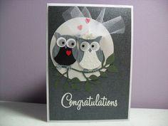 Handmade Wedding Card - Bride and Groom Owl Card - Owl Wedding Card - Congratulations. Stampin Up owl punch Wedding Cards Handmade, Greeting Cards Handmade, Owl Wedding, Wedding Ring, Owl Punch Cards, Wedding Shower Cards, Wedding Congratulations Card, Wedding Anniversary Cards, Golden Anniversary