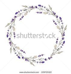 wreath, lavender, watercolor - stock vector