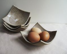 Handmade Squared Laced Bowl in Cream Stoneware grès par lofficina, €15.00