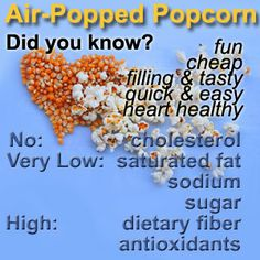 No Cholesterol, Low Sugar, Low Salt, Low Cal, Hi Fibre, Antioxidant Rich, Heart Smart Healthy Popcorn! This article has more facts than I could ever have imagined - I have never learnt so much about popcorn in all my life ... and it is heart healthy with chocolate!