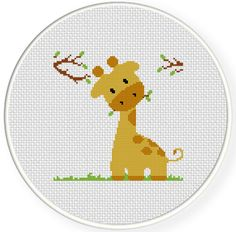 FREE for June 24th 2017 Only - Giraffe Eating Cross Stitch Pattern