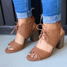 Women Lace-Up Chunky Heels Ankle Back Sling Sandals Mid Heel Sandals, Lace Up Sandals, Lace Up Heels, Ankle Strap Sandals, High Heels For Prom, Cute High Heels, High Heels Stilettos, Strappy Heels, Comfortable High Heels