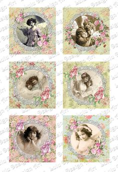 Golden Angels Digital Collage Sheet Printable by LuluDesignArt