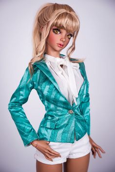 "Fashion item of ""BLOSSOM DREAM"" clothing collection for BJD:  Single button blazer in turquoise color. It is time for universal outfits for your dolls! Blazers are always in trend, and bright color of material will add a juicy accent to the image of any BJD. Stylish blazer would be a good addition to many outfits for your doll.  On Etsy - www.etsy.com/ru/listing/466748069/turquoise-single-button...  At website - www.amadiz-studio.com/#!product-page/iky07/b7632b54-eb09-...  FREE SHIPPING!"