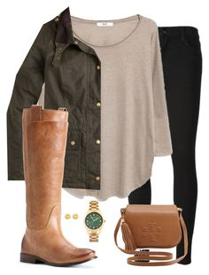 """shades of green"" by tex-prep ❤ liked on Polyvore featuring J Brand, MANGO, Michael Kors, J.Crew, Tory Burch and Frye"