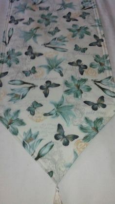Butterfly and Flower Table Runner 72x14 Reversible and Padded by freemansalesgirl on Etsy