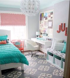 Beautiful Teenage Girls' Bedroom Designs - For Creative Juice Coral and turquoise themed bedroom design for teenage girls. Bedroom and workplace just in one room. Functional and beautiful as its own. The pandent. Love it in my room! My New Room, My Room, Dorm Room, Spare Room, Teenage Girl Bedroom Designs, Teenage Bedrooms, Teen Rooms, Bedroom Ideas For Small Rooms For Teens For Girls, Colorful Teen Bedrooms