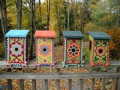 Ornate tile Birdhouses -- Garden Art by Clare Dohna Decorative Bird Houses, Bird Houses Painted, Painted Birdhouses, Bird Cages, Bird Feeders, Outdoor Projects, Outdoor Decor, Fairy Houses, Yard Art
