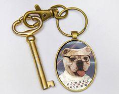 Gift Keyring for Dad, Keychains, Best Cool Keychain, Bulldog Owner, Cute Key Chain, Key Rings for Women, Mens Keychain, Keyfobs, Keyfob