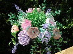 Pastel French Beaded Flower Bridal Bouquet by BeadedFleur on Etsy