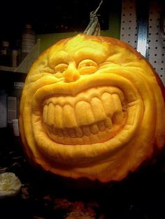 -- carved by hubby Mehr 3d Pumpkin Carving, Amazing Pumpkin Carving, Food Carving, Scary Pumpkin, Pumpkin Art, Pumpkin Faces, Carving Pumpkins, Pumpkin Crafts, Diy Halloween