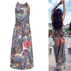 Fashion Boho Women Floral Maxi Dress Summer Sexy Sleeveless Long Beach  Sundress Abito Maxi Floreale a51c3260c78