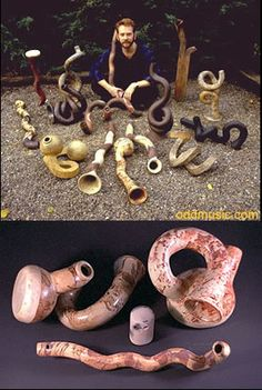 Ceramic Musical Instruments, unusual odd unique experimental clay musical instruments by Barry Hall
