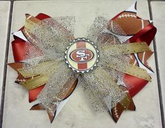 San Francisco 49er Bowtique Bow by HodgePodgeBowtique on Etsy, $10.00