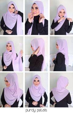 Hijab Tutorials With Niqab Square Hijab Tutorial, Pashmina Hijab Tutorial, Hijab Style Tutorial, Stylish Hijab, Hijab Casual, Hijab Outfit, Islamic Fashion, Muslim Fashion, Hijab Fashion