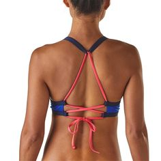 Patagonia Womens Solid Nanogrip Viking Blue Bikini Top. We find these bikini tops so much better to wear under wetsuits, impact vests etc because there is no knot at the top of the neck.