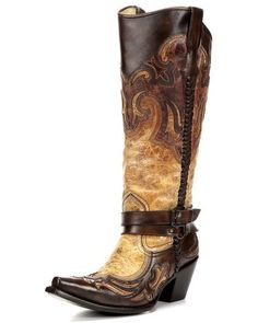 Corral Women's Cognac Harness Studded Boot - My very favorite! Womens Cowgirl Boots, Cowgirl Style, Western Boots, Cowboy Boots, Boots Women, Cowgirl Outfits, Western Wear, Snow Boots, Ugg Boots