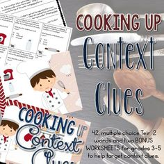 Students cannot survive on definitions alone. With the shift to common core, students are going to be expected to use their deductive skills to determine word meanings. Cooking Up Context Clues targets the this skill! There are 42, multiple choice cards using Tier 2 vocabulary words.