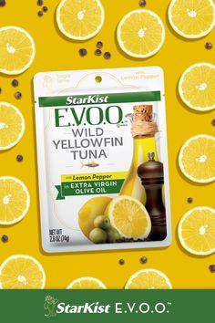 StarKist E.V.O.O. Yellowfin Tuna with Lemon Pepper pouches are great to keep on hand for when you start to get hungry during the day. Yellowfin Tuna, Getting Hungry, Lemon Pepper, Tuna Salad, Pouches, Easy Meals, Favorite Recipes, Stuffed Peppers, Products