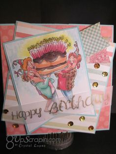 Art Impressions Rubber Stamps: Ai Girlfriends: Giant Cake Set (Sku#4382) handmade birthday card.  More candles, bigger cake