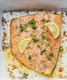 One Pan Garlic Dill Lemon Baked Salmon Recipe - ready in under 30 minutes, simple and delicious sheet pan dinner that could be paired with a salad or roasted veggies for the perfect effortless nutritious meal. All you need are seven staple ingredients. Healthy Recipes, Healthy Foods To Eat, Keto Recipes, Vegetarian Recipes, Dinner Recipes, Healthy Pizza, Pescatarian Recipes, Roast Recipes, Simple Recipes